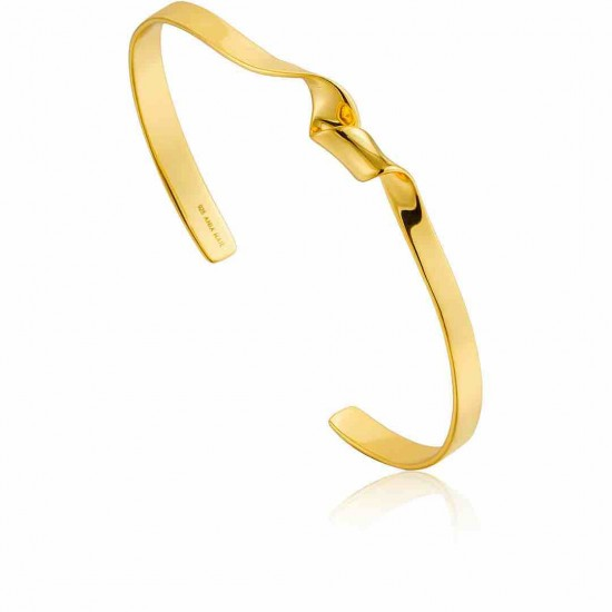 Woman Bracelet ANIA HAIE Twister Cuff Silver gold plated  B012-01G