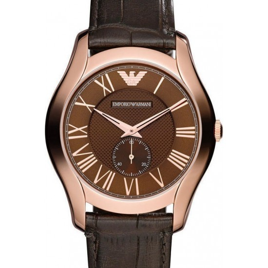 Emporio Armani Valente Rose Gold Brown Leather Strap AR1705