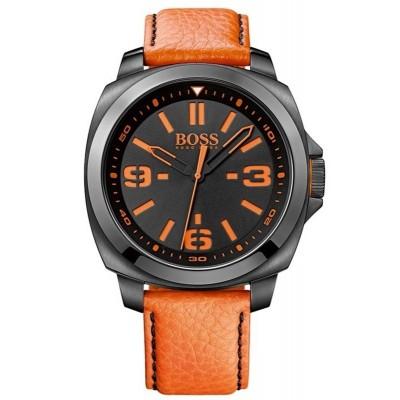 HUGO BOSS ORANGE ρολόι πορτοκαλί δερμάτινο λουράκι 1513098