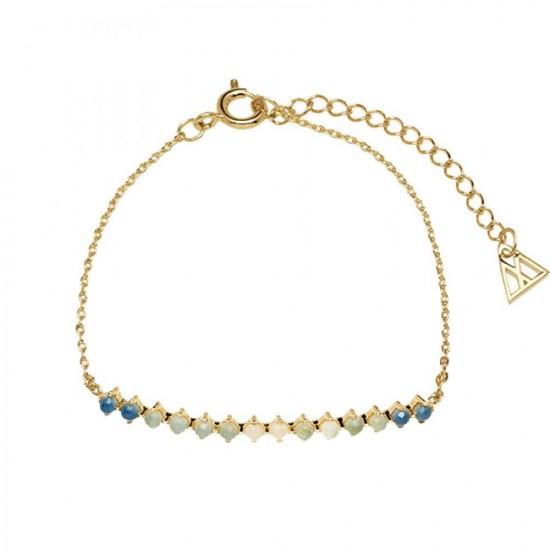 """Βραχιόλι ασημένιο PDPAOLA """"Indigo Capsule""""- AZURE GOLD με Κ18 επιχρύσωμα και πέτρες mother of pearl στη βάση και colored crystals on top.PU01-053-U"""