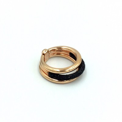 Δαχτυλίδι Pesavento POLVERE DI SOGNI Black Dust Ροζ χρυσό-ασημένιο