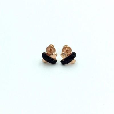 Σκουλαρίκια Pesavento POLVERE DI SOGNI Black Dust Ροζ χρυσό-ασημένιο
