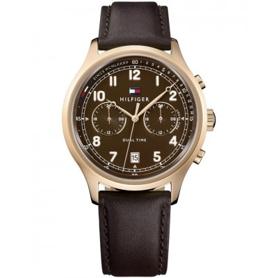TOMMY HILFIGER Emerson dual time brown leather strap