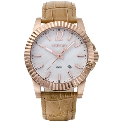 GREGIO Felicity Rose Gold Brown Leather Strap GR101081