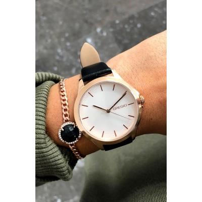 Γυναικείο ρολόι GREGIO Rosebery Black Leather Strap GR150081