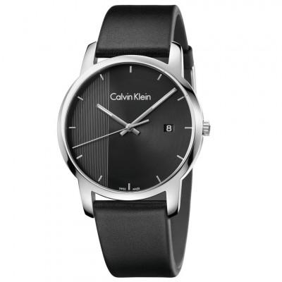 Ρολόι Calvin Klein City Black Leather Strap K2G2G1C1